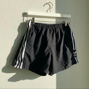 Adidas originals 3 stripe nylon black shorts